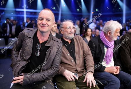 British Singer Sting (l) and French Actors Claude Brasseur (c) and Jean-paul Belmondo (r) Attend the Heavyweight Championship Fight Between Wladimir Klitschko of of Ukraine and His French Challenger Jean Marc Mormeck at the Esprit Arena in Duesseldorf Germany 03 March 2012 Epa/rolf Vennenbernd Germany Düsseldorf