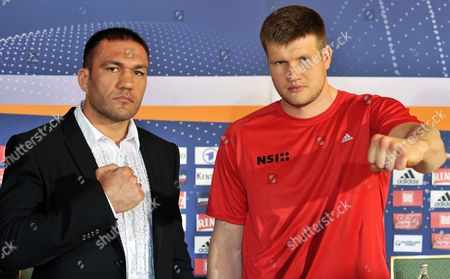 Bulgarian Boxer Kubrat Pulev (l) and Germany's Alexander Dimitrenko (r) Pose For Photographers During a Press Conference in Erfurt Germany 02 May 2012 Dimitrenko Will Fight Pulev in Their Heavyweight European Championship Title Bout in Erfurt on 05 May Germany Erfurt