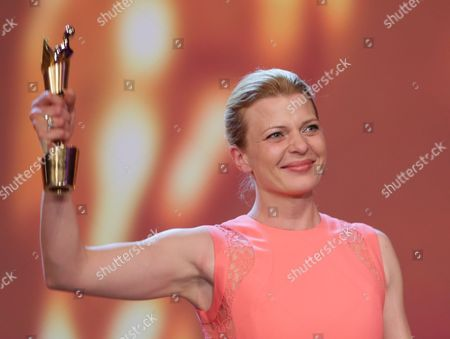 German Actress Joerdis Triebel Receives the Best Actress Award For 'Westen' During the 64th German Film Award 'Lola' Ceremony in Berlin Germany 09 May 2014 Germany Berlin