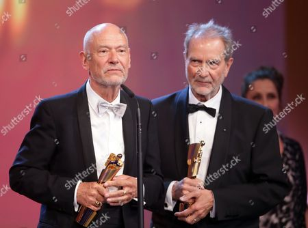German Writer Gert Heidenreich (l) and Filmmaker Edgar Reitz Receive the Best Script Award For 'Die Andere Heimat' During the 64th German Film Award 'Lola' Ceremony in Berlin Germany 09 May 2014 Germany Berlin