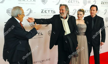 (l-r) German Actor Dieter Hildebrandt German Director Helmut Dietl and German Actors Karoline Herfurth and Michael Herbig Arrive at the Premiere of the Film 'Zettl' in Munich Germany 31 January 2012 the Film Goes on General Release in Germany on 02 February Germany Munich