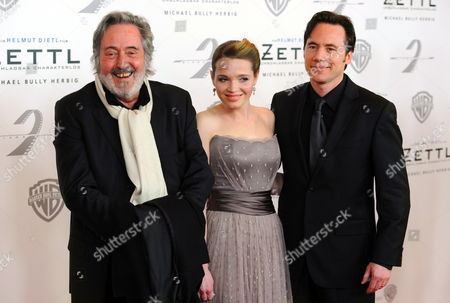 (l-r) German Director Helmut Dietl and German Actors Karoline Herfurth and Michael Herbig Arrive at the Premiere of the Film 'Zettl' in Munich Germany 31 January 2012 the Film Goes on General Release in Germany on 02 February Germany Munich