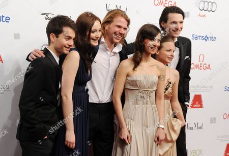 From (l-r) German Actors Max Hegewald Maria Ehrich Tim Fehlbaum Swiss Director Aylin Tezel Swiss Jasna Fritzi Bauer and German-rumanian Sabin Tambrea Arrive For the 40th German Film Ball at the Hotel Bayerischen Hof in Munich Germany 19 January 2013 Germany Munich