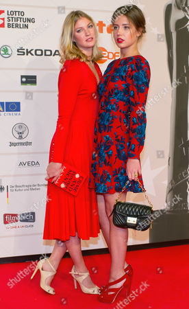 Belgian Actress Mona Walravens (l) and French Actress Adele Exarchopoulos (r) Pose For the Photographers As They Arrive on the Red Carpet For the Opening of the 26th European Film Awards Ceremony in Berlin Germany 07 December 2013 Evening Germany Berlin