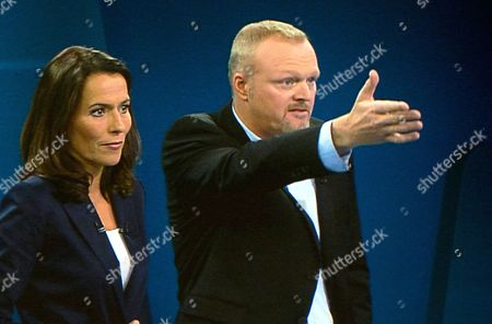 (screenshot) Stefan Raab (prosieben) and Anne Will (ard) Are Two of the Moderators of the Only Tv Election Debate Between German Chancellor Angela Merkel (cdu) and Social Democratic Party Top Candidate Peer Steinbrueck (spd) at the Tv Studio in Berlin-adlershof Germany 01 September 2013 Federal Elections Will Be Held in Germany on 22 September 2013 Germany Berlin
