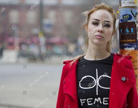 Stock Picture of Ukranian Femen Activist Alexandra Shevchenko Poses After an Interview in Berlin Germany 10 April 2013 Germany Berlin