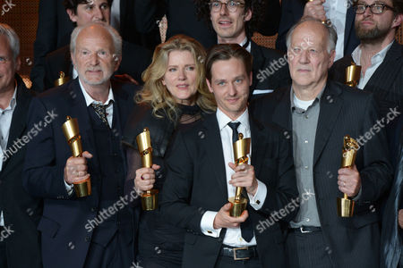 (l-r) Actors Michael Gwisdek Barbara Sukowa Tom Schilling and Director Werner Herzog Pose with Their Lola Trophies on Stage During the Ceremony of the 63rd German Film Awards in Berlin Germany 26 April 2013 Germany Berlin