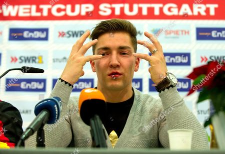 Stock Photo of German Gymnast Philipp Boy Attends a Press Conference During the Gymnastics World Cup at Porsche-arena in Stuttgart Germany 01 December 2012 Boy Announced His Resignation From the Sport Epa/marijan Murat Germany Stuttgart