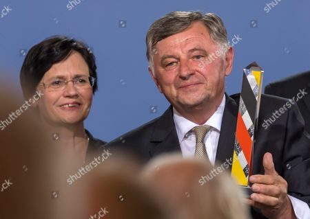 Former Hungarian Premier Miklos Nemeth with the Point Alpha Prize Next to Thuringian Premier Christine Lieberknecht at the Point Alpha Memorial to the German Division and Reunification Between Geisa (thuringia) and Rasdorf (hessen) Germany 15 June 2014 Nemeth was Responsible For the Fall of the Iron Curtain in Hungary 25 Years Ago the Prize Has Been Awarded Since 2005 Germany Geisa