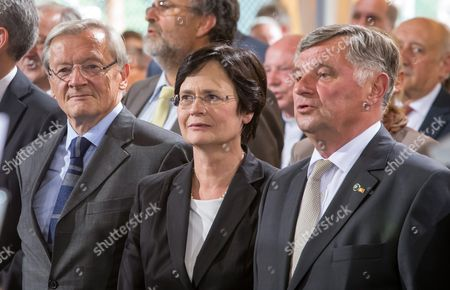 Former Hungarian Premier Miklos Nemeth (r) Sings Next to Thuringian Premier Christine Lieberknecht and Former Austrian Chancellor Wolfgang Schuessel After Receiving the Point Alpha Prize at the Point Alpha Memorial to the German Division and Reunification Between Geisa (thuringia) and Rasdorf (hessen) Germany 15 June 2014 Nemeth was Responsible For the Fall of the Iron Curtain in Hungary 25 Years Ago the Prize Has Been Awarded Since 2005 Germany Geisa