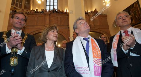 The Mayor of Leipzig Burkhard Jung (l) German President Joachim Gauck (2-r) and His Partner Daniela Schadt (2-l) and an Unidentified Man (r) Attend an Event Commemorating the 800-year Anniversary of the St Thomas Choir of Leipzig at St Thomas Church in Leipzig Germany 20 March 2012 the Choir was Founded in 1212 and is One of the Oldest Choirs Ion the World From 1723 Until 1750 It was Led by Johann Sebastian Bach (1685-1750) Germany Leipzig