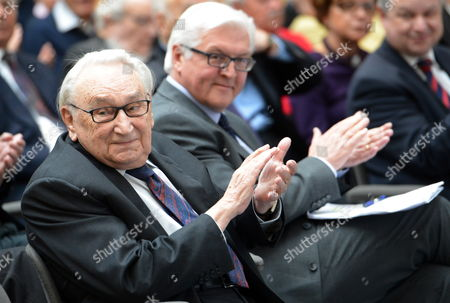 Former Politician and Journalist Egon Bahr (l) and Spd Fraction Chairman Frank-walter Steinmeier (c) Attend a Meeting at the Friedrich-ebert-foundation in Berlin Germany 16 April 2012 Bahr Delivered a Speech Titled 'Something Outmoded About the Freedom of Europe' During the Meeting Germany Berlin
