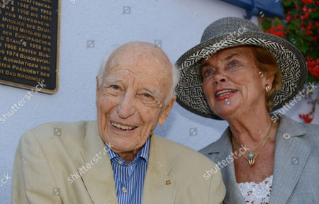 Former German President Walter Scheel (r) and His Wife Barbara Stand in Front of the 'Federal President Walter Scheel House' in Bad Krozingen Germany 16 July 2014 Since 2009 Fdp Politician Scheel Had His Office in a Three-storeyed Building the Office of the Federal President Asked Him to Leave His Office by 01 August Because He Doesn't Use It Anymore in His Old Age Germany Bad Krozingen