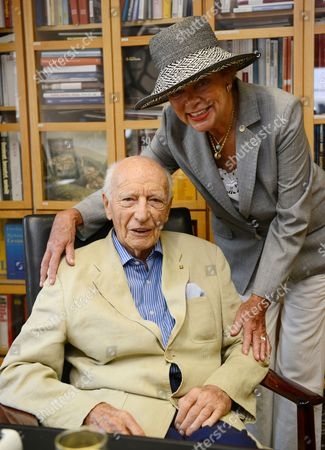 Former German President Walter Scheel and His Wife Barbara (r) Pose in His Office in the 'Federal President Walter Scheel House' in Bad Krozingen Germany 16 July 2014 Since 2009 Fdp Politician Scheel Had His Office in a Three-storeyed Building the Office of the Federal President Asked Him to Leave His Office by 01 August Because He Doesn't Use It Anymore in His Old Age Germany Bad Krozingen