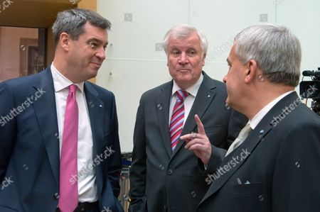 Premier of Bavaria Horst Seehofer (c) Talks with Ministers Ludwig Spaenle (r) and Markus Soeder (l) Before the Oath-taking Ceremony of the Bavarian Cabinet at the Parliament in Munich Germany 10 October 2013 Germany Munich