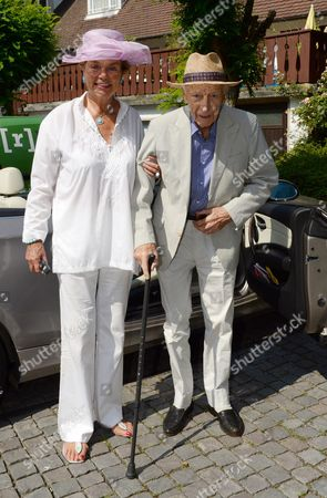Former German President Walter Scheel (r) and His Wife Barbara Arrive in a Cabrio For a Reception in Celebration of Walter Scheel's 94th Birthday in Bad Krozingen Germany 08 July 2013 Scheel Served As President of the Federal Republic of Germany From 1974 to 1979 Germany Bad Krozingen