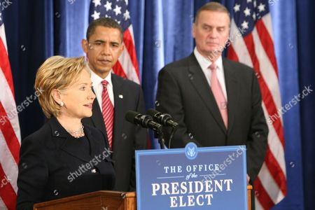 Hillary Clinton as Secretary of State with President-Elect Barack Obama and retired Marine General James L. Jones, right, as National Security Advisor.