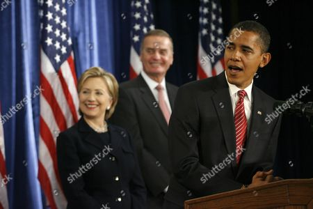 President-Elect Barack Obama gives a press conference to introduce nominees Senator Hillary Clinton, left, for Secretary of State, and retired Marine General James L. Jones, middle, as National Security Advisor