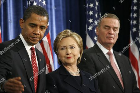 President-Elect Barack Obama, Hillary Clinton, for Secretary of State, middle, and retired Marine General James L. Jones as National Security Advisor.