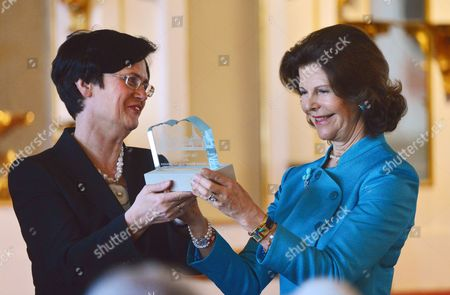 Queen Silvia of Sweden (r) is Awarded the Prize 'Friedenstein' by Premier of Thuringia Christine Lieberknecht (cdu) During Her Visit at the Palace Friedenstein in Gotha Germany 07 April 2014 Queen Silvia Visited Gotha to Receive the Prize 'Friedensstein' (lit: Peace Stone) of the Culture Foundation Gotha For Her Life's Work and Her Services to Peace Germany Gotha
