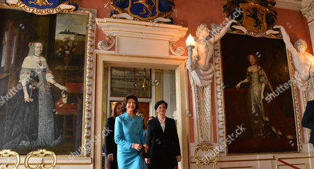 Queen Silvia of Sweden (l) and the Premier of Thuringia Christine Lieberknecht (cdu) Visit at the Palace Friedenstein in Gotha Germany 07 April 2014 Queen Silvia Visited Gotha to Receive the Prize 'Friedensstein' (lit: Peace Stone) of the Culture Foundation Gotha For Her Life's Work and Her Services to Peace Germany Gotha