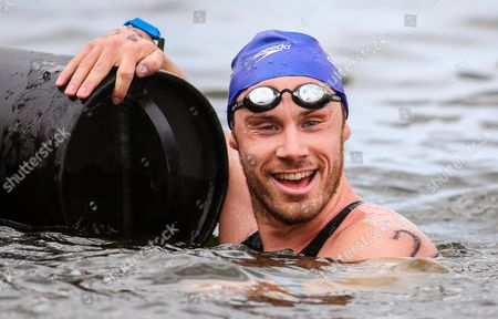 Britan's Daniel Fogg Reacts After Winning the Men's 5km Open Water Final During the 32nd Len European Swimming Championships 2014 at the Gruenau Course in Berlin Germany 13 August 2014 Germany Berlin