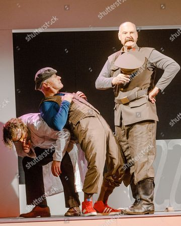 A Picture Made Available on 14 October 2013 Shows Actors (l-r) Alexander Klages As 'Jullij Popov' Joerg Schuettauf As 'Allan Karlsson' and Klaus Peeck As 'Stalin' Performing Onstage During the Photo Rehearsal of 'The Hundred-year-old Man who Climbed out the Window and Disappeared' in Hamburg Germany 10 October 2013 the Play Directed by Eva Hosemann and Based on the Book with the Same Title by Swedish Writer Jonas Jonasson Premiered on 13 October Germany Hamburg