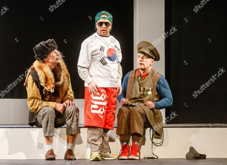 A Picture Made Available on 14 October 2013 Shows Actors Dirk Hoener (l-r) As 'Herbert Einstein' Karsten Kramer As 'Kim Jong-il' and Joerg Schuettauf As 'Allan Karlsson' Performing Onstage During the Photo Rehearsal of 'The Hundred-year-old Man who Climbed out the Window and Disappeared' in Hamburg Germany 10 October 2013 the Play Directed by Eva Hosemann and Based on the Book with the Same Title by Swedish Writer Jonas Jonasson Premiered on 13 October Germany Hamburg