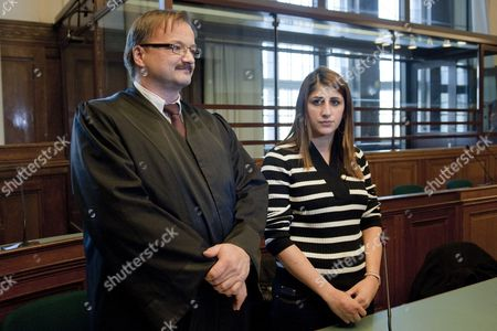 Lebanese-born German Professional Boxer Double World Champion in the Wibf and Wiba Rola El-halabi (r) Stands Next to Her Lawyer Manfred Gnjidic (l) in the Courtroom of the State Court in Berlin Germany 14 November 2011 Hicham E the Adoptive Father of Rola El-halabi was Sentenced to Six Years in Prison For Causing Severe Injuries on His Step Daughter by Shooting the Boxer's Hands and Legs on 01 April 2011 Germany Berlin