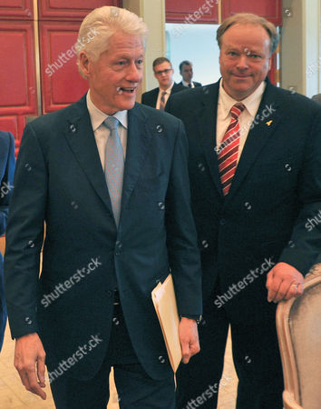 Former Us President Bill Clinton (l) and German Development Minister Dirk Niebel (r) Arrive For the Event 'Chancenkontinent Afrika' (lit: Continent of Possibilities Africa) in Berlin Germany 26 May 2013 the Event was Held to Support a Stronger Committment From the International Community For Africa Germany Berlin