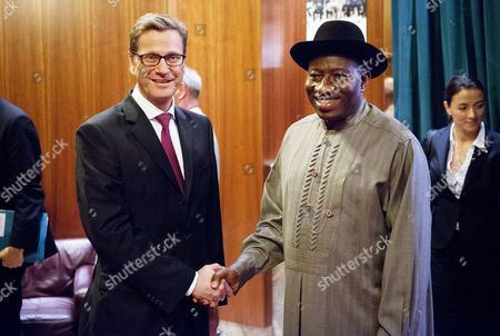 German Foreign Minister Guido Westerwelle (l) Bids Farewell to Nigerian President Goodluck Ebele Jonathan in Abuja Nigeria 02 November 2012 Westerwelle is on a Three-day Visit to Africa in Order to Appraise the Current Situation in Mali Nigeria Abuja