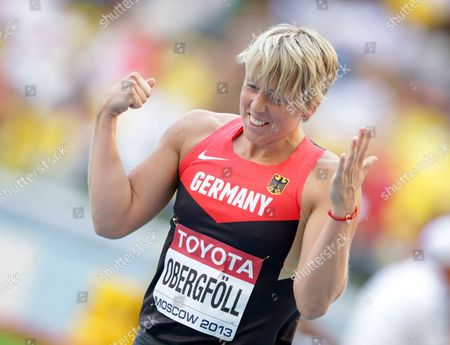 Christina Obergfoell of Germany Reacts During the Women's Javelin Throw Final at the 14th Iaaf World Championships in Athletics at Luzhniki Stadium in Moscow Russia 18 August 2013 Russian Federation Moscow
