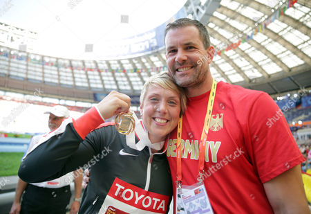 Christina Obergfoell (l) of Germany Celebrates with Boris Henry (r) After Winning the Women's Javelin Throw Final at the 14th Iaaf World Championships in Athletics at Luzhniki Stadium in Moscow Russia 18 August 2013 Russian Federation Moscow