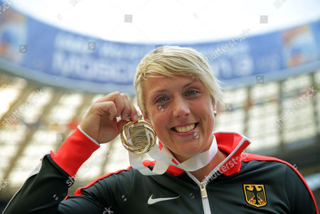 Gold Medalist Christina Obergfoell of Germany Poses with Her Medal For the Women's Javelin Throw Final at the 14th Iaaf World Championships in Athletics at Luzhniki Stadium in Moscow Russia 18 August 2013 Russian Federation Moscow