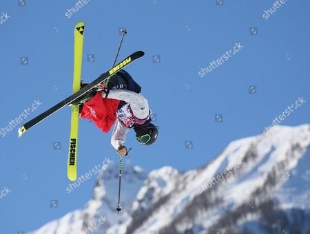 Joss Christensen of Usa in Action During the Men's Freestyle Skiing Slopestyle Qualification in the Rosa Khutor Extreme Park at the Sochi 2014 Olympic Games Krasnaya Polyana Russia 13 February 2014 Russian Federation Krasnaya Polyana