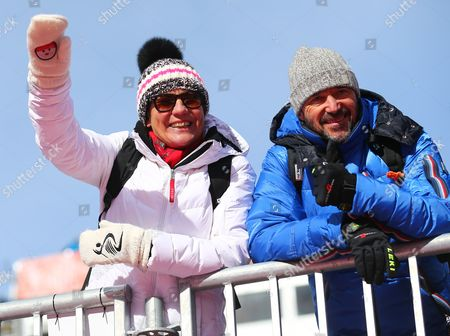 Former Alpine Skier and Parents of Felix Neureuther From Germany Rosi Mittermaier (l) and Christian Neureuther in the Stands During the Men's Giant Slalom Race at the Rosa Khutor Alpine Center During the Sochi 2014 Olympic Games Krasnaya Polyana Russia 19 February 2014 Russian Federation Krasnaya Polyana