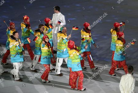 Michael Vesper (c) Chef De Mission of the Team Germany Arrives with the Athletes During the Closing Ceremony in Fisht Olympic Stadium at the Sochi 2014 Olympic Games Sochi Russia 23 February 2014 Russian Federation Sochi