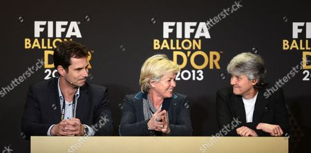 The Nominees of the Fifa Women's World Coach of the Year Award (l-r)vfl Wolfburg's Head Coach Ralf Kellermann German National Women's Soccer Team Head Coach Silvia Neid and Swedish National Women's Soccer Team Head Coach Pia Sundhage Attend a Press Conference of the Fifa Ballon D'or Awarding Ceremony at the Kongresshaus in Zurich Switzerland 13 January 2014 Switzerland Schweiz Suisse Zurich