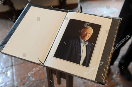 A Book of Condolence with a Picture of Late Austrian Actor Karlheinz Boehm is Seen During a Funeral Service at Salzburg Municipal Cemetery in Salzburg Austria 13 June 2014 the Actor and Founder of the Charity Organisation 'Menschen Fuer Menschen' (lit People For People) Passed Away at Age 86 in May 2014 Austria Salzburg