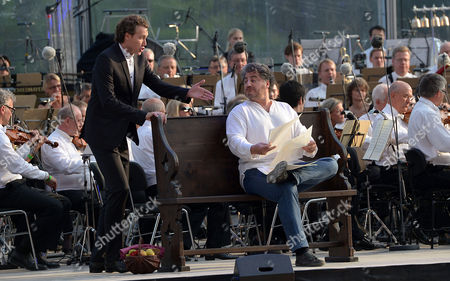 Dutch Bass-baritone Martin-jan Nijhof (l) and Argentine Tenor Jose Cura (r) Rehearse For the Opera Tosca in Hanover Germany 17 July 2014 the Musical Piece by Italian Composer Giacomo Puccini Will Be Performed During the 'Ndr Klassik Open Air' Music Festival on 19 July Germany Hanover