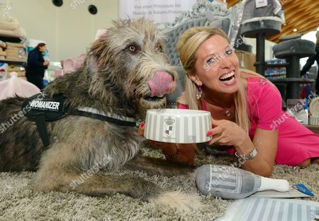 Princess Maja of Hohenzollern Poses Next to an Irish Wolfhound at the Pet Fair 'Tierisch Gut' (coll : 'Beastly Awesome') in Karlsruhe Germany 09 November 2013 a Total of 250 Exhibitors Are Represented at the Fair That Runs Until 10 November 2013 Germany Karlsruhe