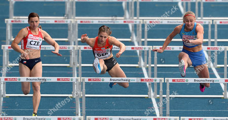 (l-r) Lucie Skrobakova of Czech Republic Nadine Hildebrand of Germany and Hanna Platitsyna of Ukraine Compete During the Women's 100 M Hurdles Race at the European Athletics Team Championships in Braunschweig Germany 22 June 2014 Germany Braunschweig