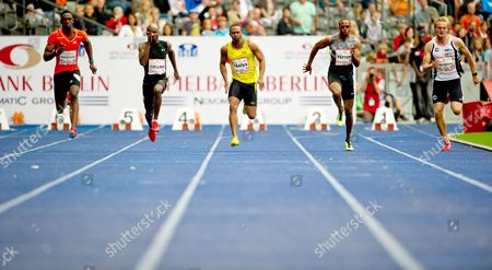 (l-r) Kemar Bailey-cole From Jamaica Kim Collins From Saint Kitts and Nevis Michael Frater From Jamaica Darvis Patton From the Usa and Lukas Jakubczyk From Germany Compete in the Men's 100m Sprint at the Athletics World Challenge Istaf at the Olympic Stadium in Berlin Germany 02 September 2012 Germany Berlin