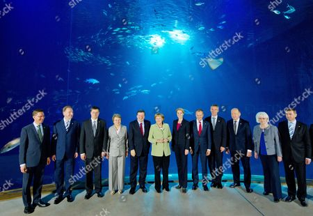 German Chancellor Angela Merkel (6-l) Stands Together with the Participants of the Council of the Baltic Sea States Summit at the 'Ozeanum' Sea Museum in Stralsund Germany 31 May 2012 Seen (l-r) Are Finland's Prime Minister Jyrki Katainen Russia's Vice Prime Minister Igor Schuvalov Latvia's Prime Minister Valdis Dombrovskis the Head of the Parliamentary Conference of the Baltic Sea States Valentina Pivnenko European Commission President Jose Manuel Barroso Denmark's Prime Minister Helle Thorning-schmidt Poland's Prime Minister Donald Tusk Norway's Prime Minister Jens Stoltenberg Lithuania's Prime Minister Andrius Kubilius Iceland's Prime Minister Johanna Sigurdardottir and Estonia's Prime Minister Andrus Ansip Germany is Hosting Government Leaders and Officials From the Countries Around the Baltic Sea to Discuss Energy Security and Ways to Foster Competitiveness and Growth Across the Region Germany Stralsund