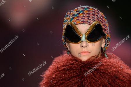 Stock Picture of A Model Presents a Creation by Miranda Konstantinidou During the Mercedes-benz Fashion Week in Berlin Germany 17 January 2014 Fall-winter 2014/15 Collections Are Presented at the Event From 14 to 17 January Germany Berlin