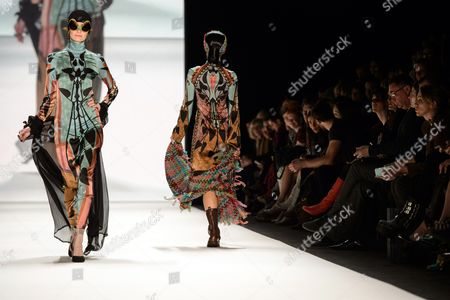 Models Present Creations by Miranda Konstantinidou During the Mercedes-benz Fashion Week in Berlin Germany 17 January 2014 Fall-winter 2014/15 Collections Are Presented at the Event From 14 to 17 January Germany Berlin