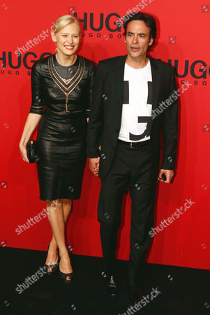 French Actor Anthony Delon (r) and Model Anna Sherbinina Attend the Offsite Show Hugo by Hugo Boss During the Mercedes-benz Fashion Week in Berlin Germany 05 July 2012 the Presentation of the Spring/summer 2013 Collections Takes Place From 04 to 07 July 2012 Germany Berlin