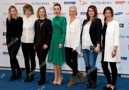Stock Image of From (l-r) Actresses: French Christa Theret Swiss Carla Juri German Saskia Rosendahl Kosovo's Arta Dobroshi Finnish Laura Birn Swedish Nermina Lukac and Rumanian Ada Condeescu Pose at a Photocall of the Shooting Star 2013 Presented by the European Film Promotion (efp) During the 63rd Berlin Film Festival Aka Berlinale in the Hotel De Rome in Berlin Germany 10 February 2013 Germany Berlin