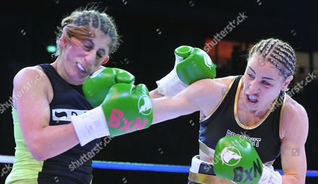 Lebanese Born German Boxer Rola El-halabi (l) Fights Against Lucia Morelli (r) From Italy in a Lightweight Worldchampionship Fight in Neu Ulm Germany 12 January 2013 Germany Neu-ulm