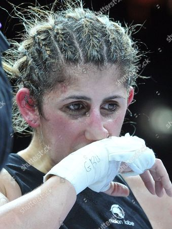 Stock Picture of Lebanese Born German Boxer Rola El-halabi Reacts After Loosing Her Lightweight Worldchampionship Fight Against Lucia Morelli From Italy in Neu Ulm Germany 12 January 2013 Germany Neu-ulm
